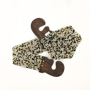 Accessories - Beaded Waist Belt with Wooden Clasp